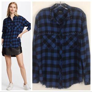 Rails Rex Blue Black Check Studded Flannel Shirt